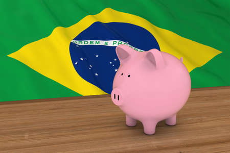 brazilian flag: Brazil Finance Concept - Piggybank in front of Brazilian Flag 3D Illustration Stock Photo