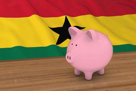 ghanese: Ghana Finance Concept - Piggybank in front of Ghanese Flag 3D Illustration Stock Photo