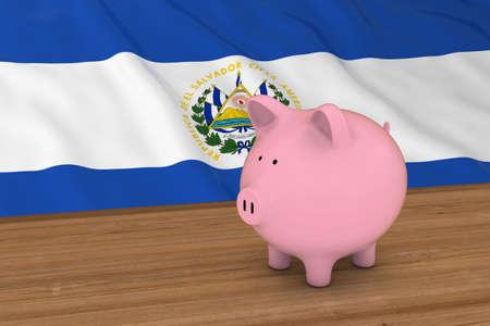 bandera de el salvador: El Salvador Concepto de Finanzas - Piggybank delante de El Salvador Bandera 3D Ilustración