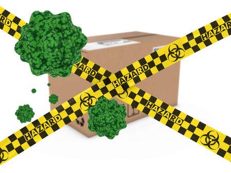 quarantine: Virus Infected Package behind Biohazard Tape 3D Illustration