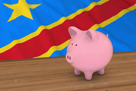 dr: DR Congo Finance Concept - Piggybank in front of Congolese Flag 3D Illustration