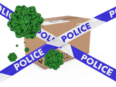virion: Virus Infected Package behind Police Tape 3D Illustration