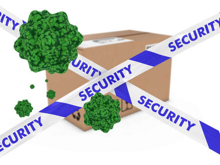 spore: Virus Infected Package behind Security Tape 3D Illustration