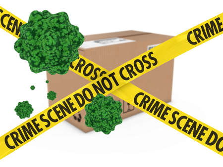 spore: Virus Infected Package behind Crime Scene Tape 3D Illustration