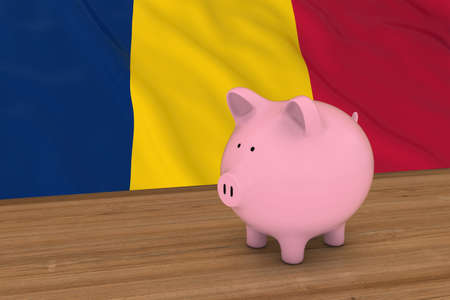 chadian: Chad Finance Concept - Piggybank in front of Chadian Flag 3D Illustration