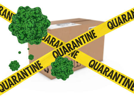 Virus Infected Package behind Quarantine Tape 3D Illustration Stock Photo