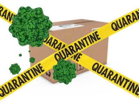 quarantine: Virus Infected Package behind Quarantine Tape 3D Illustration Stock Photo