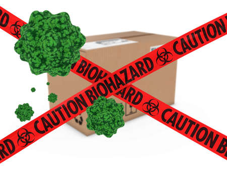 health threat: Virus Infected Package behind Caution Biohazard Tape 3D Illustration Stock Photo