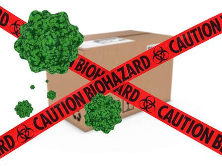 quarantine: Virus Infected Package behind Caution Biohazard Tape 3D Illustration Stock Photo