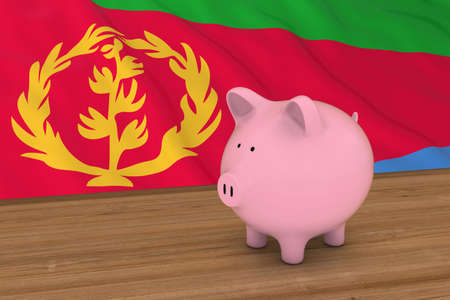 Eritrea Finance Concept - Piggybank in front of Eritrean Flag 3D Illustration