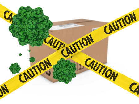 quarantine: Virus Infected Package behind Caution Tape 3D Illustration