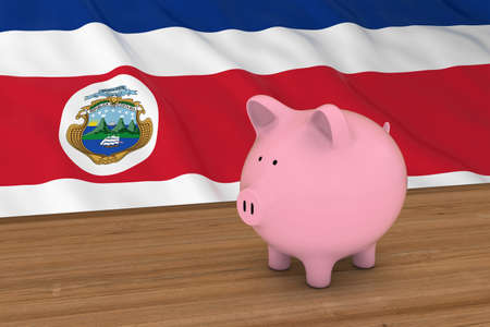 costa rican flag: Costa Rica Finance Concept - Piggybank in front of Costa Rican Flag 3D Illustration