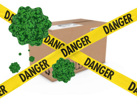 Virus Infected Package behind Danger Tape 3D Illustration Stock Photo