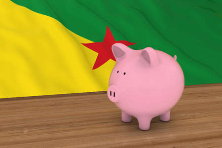 guiana: French Guiana Finance Concept - Piggybank in front of French Guianese Flag 3D Illustration Stock Photo