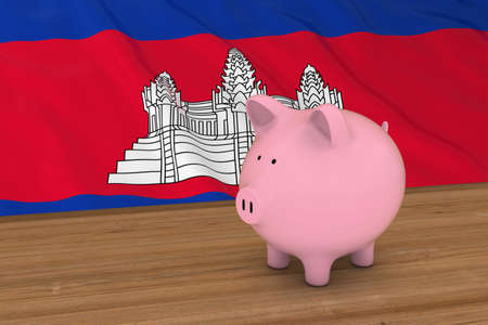 cambodian: Cambodia Finance Concept - Piggybank in front of Cambodian Flag 3D Illustration Stock Photo