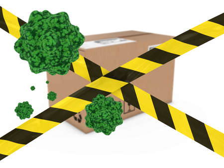 Virus Infected Package behind Striped Hazard Tape 3D Illustration