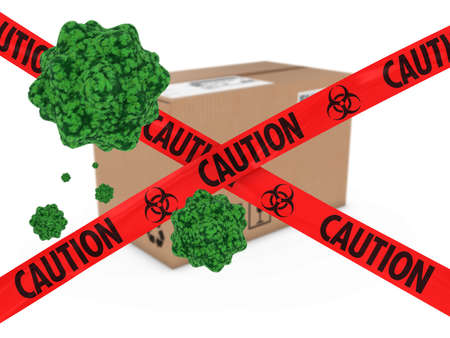 quarantine: Virus Infected Package behind Caution Biohazard Tape 3D Illustration Stock Photo