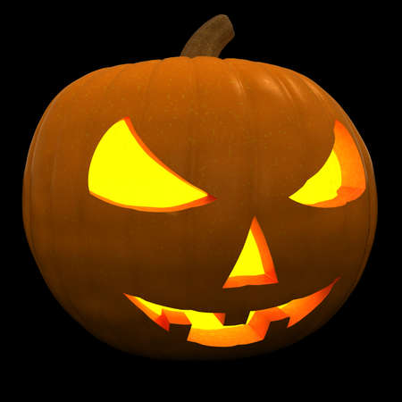 Halloween Pumpkin Jack-O-Lantern with Scary Face 3D Illustration Isolated on Black