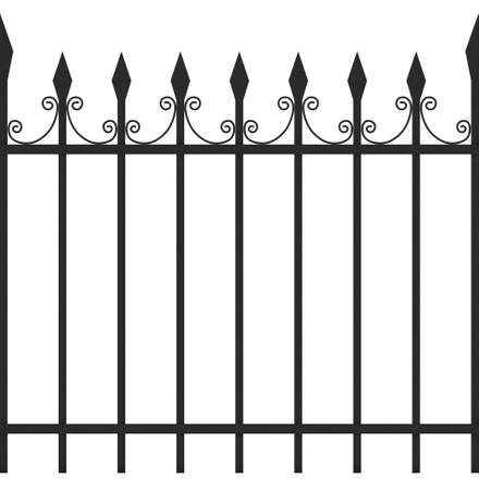 iron fence: Seamless Tileable Iron Fence 3D Illustration Isolated on White Background Stock Photo