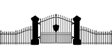 Cemetery Gates Silhouette Isolated on White Background 3D Illustration Stock Photo