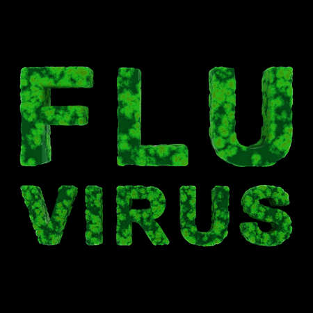 flu virus: Green FLU VIRUS Text Isolated on Black Background 3D Illustration