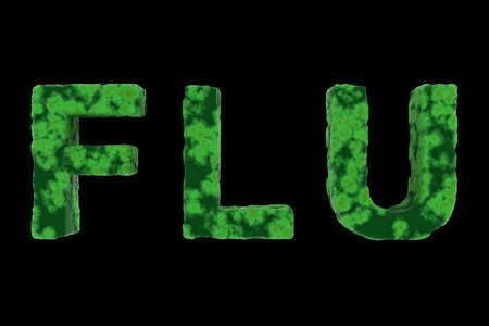 disgusting: Green Virus Coated FLU Text Isolated on Black Background 3D Illustration Stock Photo