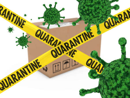 quarantine: Virus Infected Package behind Quarantine Tape 3D Illustration Stock Photo
