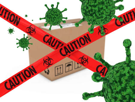 virion: Virus Infected Package behind Caution Biohazard Tape 3D Illustration Stock Photo