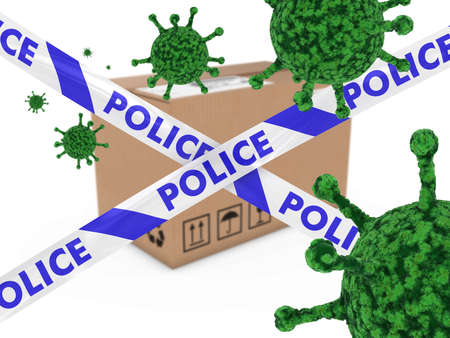 health threat: Virus Infected Package behind Police Tape 3D Illustration