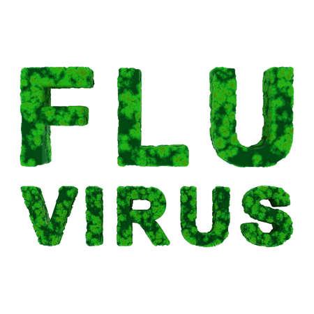 flu virus: Green FLU VIRUS Text Isolated on White Background 3D Illustration