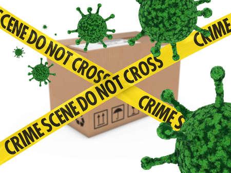 health threat: Virus Infected Package behind Crime Scene Tape 3D Illustration