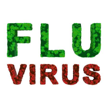 flu virus: Red and Green FLU VIRUS Text Isolated on White Background 3D Illustration