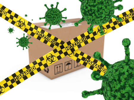 infected: Virus Infected Package behind Biohazard Tape 3D Illustration
