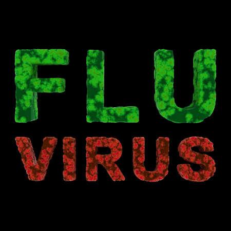 flu virus: Red and Green FLU VIRUS Text Isolated on Black Background 3D Illustration Stock Photo