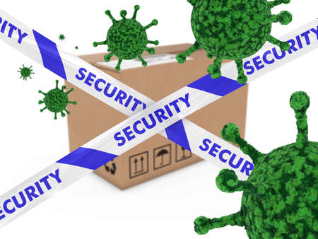 virion: Virus Infected Package behind Security Tape 3D Illustration