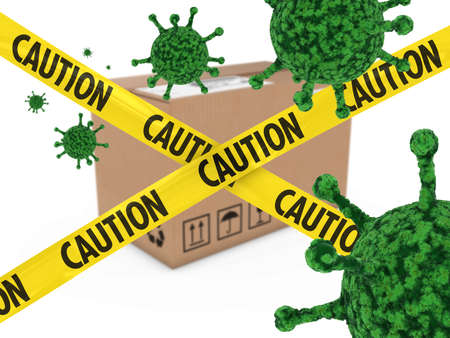 anthrax: Virus Infected Package behind Caution Tape 3D Illustration