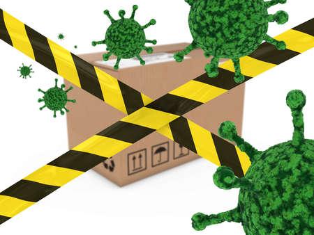 virion: Virus Infected Package behind Striped Hazard Tape 3D Illustration