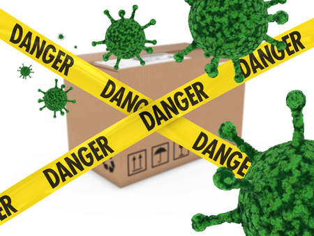 Virus Infected Package behind Danger Tape 3D Illustration Stock Photo