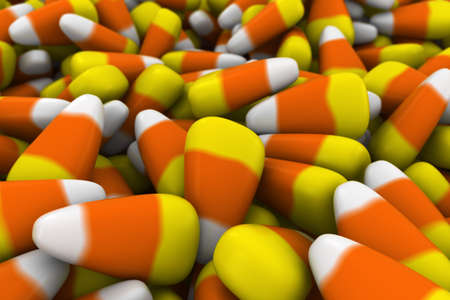 depth: Halloween Candy Corn Blurred Background with Depth of Field 3D Illustration