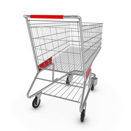 Supermarket Shopping Cart on White Background with Shadows 3D Illustration Foto de archivo