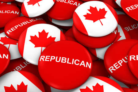 republican party: Republican Party Campaign Pins and Canadian Flag Buttons 3D Illustration