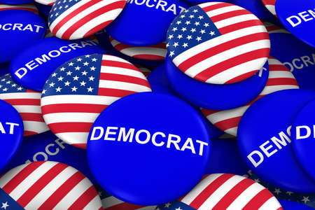 democrat party: US Elections - Democrat Party Campaign Pins and US Flag Buttons 3D Illustration