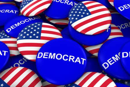 democrat: US Elections - Democrat Party Campaign Pins and US Flag Buttons 3D Illustration