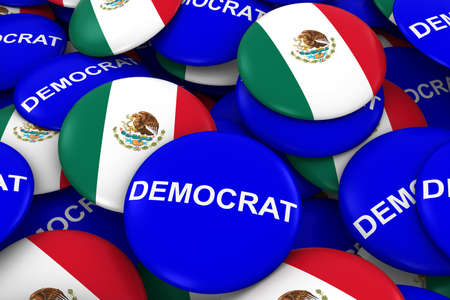 drapeau mexicain: Democrat Party Campaign Pins and Mexican Flag Buttons 3D Illustration