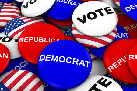 republican party: US Elections Concept - Democrat, Republican, US Flag and Vote Campaign Pins in Pile 3D Illustration Stock Photo
