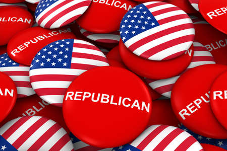 US Elections - Republican Party Campaign Pins and US Flag Buttons 3D Illustration