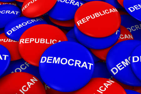 republican party: Democrat Party vs Republican Party Campaign Buttons Pile 3D Illustration