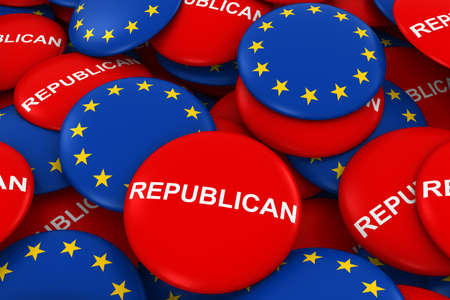polling: Republican Party Campaign Pins and European Union Flag Buttons 3D Illustration