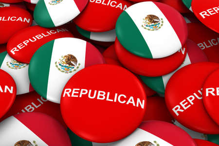 republican party: Republican Party Campaign Pins and Mexican Flag Buttons 3D Illustration