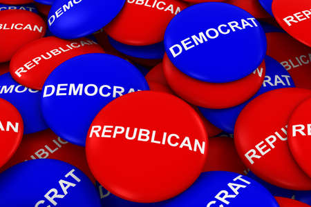 republican party: Republican Party vs Democrat Party Campaign Buttons Pile 3D Illustration Stock Photo